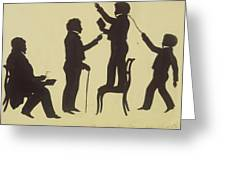 Cut Silhouette Of Four Full Figures 1830 Greeting Card