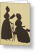 Cut Silhouette Of Two Women Facing Right 1837 Greeting Card