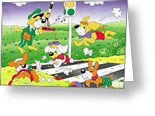 Cute Animals Crossing The Street Greeting Card