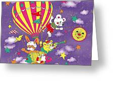 Cute Animals In Air Balloon Greeting Card
