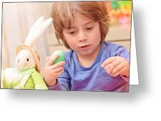 Cute Boy Enjoy Easter Holiday Greeting Card