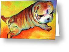 Cute English Bulldog Puppy Dog Painting Greeting Card