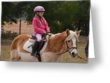 Cute Girl On Horse 2 Greeting Card