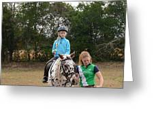 Cute Girl On Horse 3 Greeting Card