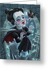 Cute Gothic Horror Vampire Woman Greeting Card