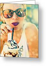Cute Retro Girl Drinking Milkshake Greeting Card