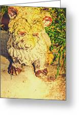 Cute Weathered White Garden Ornament Of A Dog Greeting Card