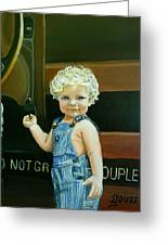 Cutie By The Train Greeting Card