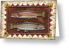 Cutthroat And Rainbow Trout Lodge Greeting Card by JQ Licensing
