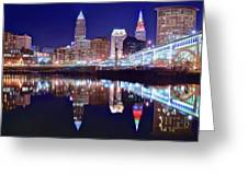 Cuyahoga Reflecting The City Above Greeting Card