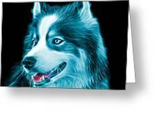 Cyan Modern Siberian Husky Dog Art - 6024 - Bb Greeting Card