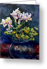 Cyclamen In A Vase Greeting Card