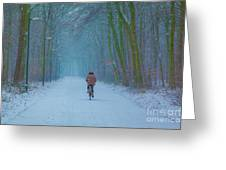 Cycling In The Snow Greeting Card