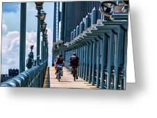 Cycling The Bridge Greeting Card