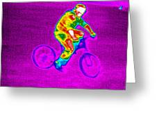 Cycling, Thermogram Greeting Card by Tony Mcconnell
