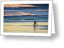 Cyclist Pedals Against The Wind At Pismo Beach Greeting Card