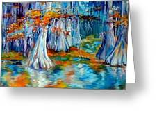 Cypress Trees Along The Bayou Greeting Card