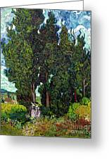 Cypresses With Two Figures, By Vincent Van Gogh, 1889-1890, Krol Greeting Card