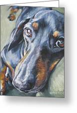 Dachshund Black And Tan Greeting Card