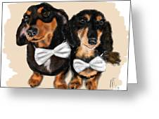 Dachshunds And Bowties Greeting Card