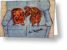 Dachshunds And Netflix  Greeting Card