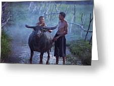 Dad And Child Happy To Live In The Countryside,thailand, Vietnam Greeting Card