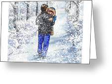 Dad And Child In The Winter Snow Greeting Card