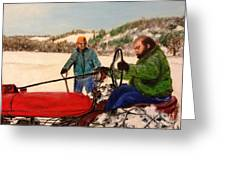 Dad And Denny In A Winter Field Greeting Card