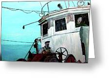 Dad In The Superior's Wheelhouse Greeting Card