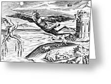 Daedalus Escaping From Crete With His Son, Icarus, Sees Him Falling To His Death Greeting Card
