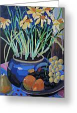Daffodills And Fruit Greeting Card