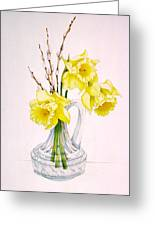 Daffodils And Pussy Willow Greeting Card