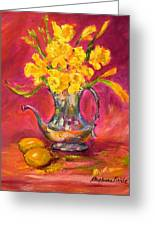 Daffodils And Teapot Greeting Card