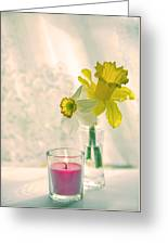 Daffodils And The Candle V3 Greeting Card