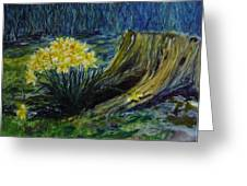 Daffodils And Tree Stump Greeting Card