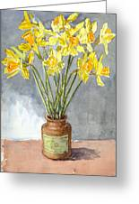 Daffodils In A Pot. Greeting Card