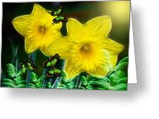 Daffodils In The Garden Greeting Card