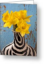 Daffodils In Wide Striped Vase Greeting Card
