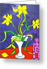 Daffodils With Abstract Sculpture Greeting Card