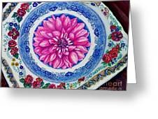 Dahlia And Blue Willow Greeting Card