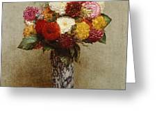 Dahlias In A Chinese Vase Greeting Card