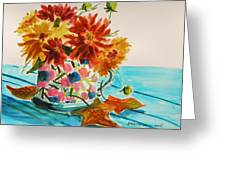 Dahlias In A Painted Cup Greeting Card