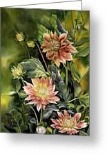 Dahlias In Autumn Greeting Card