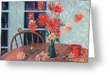 Dahlias With Red Cup Greeting Card