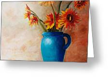 Daisies And Blue Greeting Card