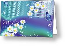 Daisies And Butterflies On Blue Background Greeting Card