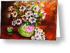 Daisies And Ginger Jar Greeting Card