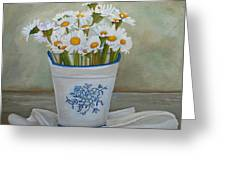 Daisies And Porcelain Greeting Card by Angeles M Pomata