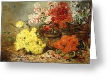 Daisies, Begonia, And Other Flowers In Pots Greeting Card