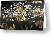 Daisies In Gold Abstraction Greeting Card